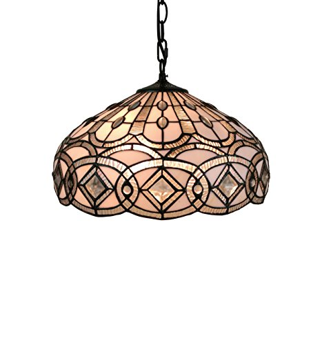 Amora Lighting AM295HL16 16 Inches Wide Tiffany Style White Hanging Lamp, 16