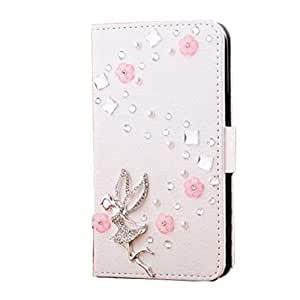 HTC Desire 516 Case,HTC Desire 516 Case - 3D Handmade Bling Crystal LOVE Heart Pendant Sparkle Glitter Rhinestone Diamond Flowers PU Leather Wallet Type with Magnetic Clasp Credit Card Holder Design Folio Case Cover for HTC Desire 516