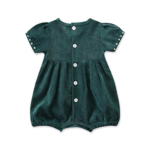 AutumnFall 3-24M Newborn Kids Baby Girl Outfit Clothes Corduroy Lace Short Sleeve Romper Jumpsuit (Age:6-12 Months, Green)
