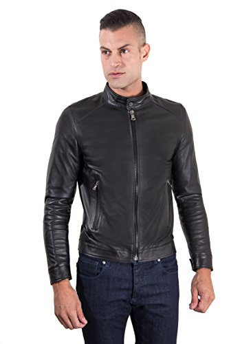 Nappa Leather Biker Jacket - Black nappa lamb leather biker jacket korean collar - 50 / M, Black