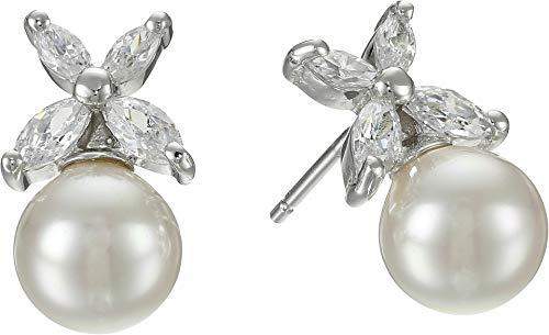 Majorica Women's 8mm Pearl w/CZ Flower Earrings White One Size