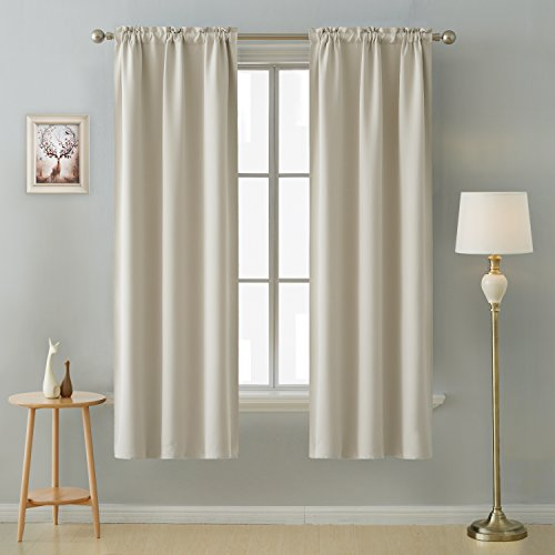 Deconovo Rod Pocket Light Window Panels Room Darkening Thermal Insulated Blackout Curtains for Nursery Room 38 Inch by 72 Inch Light Beige 2 Curtain Panels ()