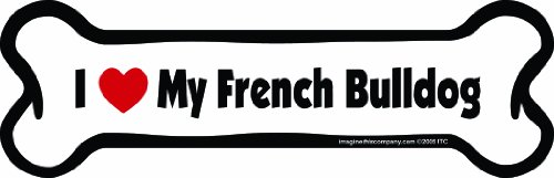 Imagine This Bone Car Magnet, I Love My French Bulldog, 2-Inch by 7-Inch ()