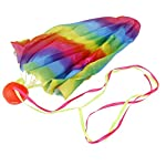 MagiDeal 70cm Rainbow Print Tangle-Free Mini Parachute Sky Flying Kids Outdoor Toy