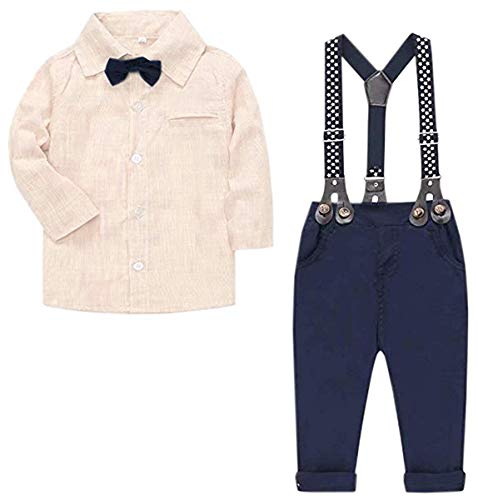 SANGTREE Baby Boys Clothes, Long Sleeves Button Down Dress Shirt and Suspender Pants Set Tuxedo Gentlemen Outfit with Bow Tie for Newborn Toddlers Baby Boys, S01 Beige, 3-4 Years/Tag - Apparel Beige