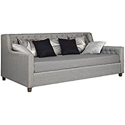 DHP Jordyn Daybed with Diamond Tufted Linen Upholstery, Twin Size - Grey Linen