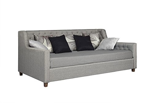 DHP Jordyn Daybed with Tufted Linen Upholstery Twin Size Grey