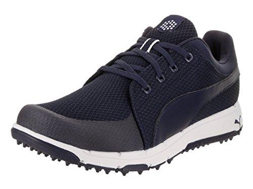 PUMA Men's Grip Sport Golf-Shoes, Peacoat-Puma White, 8.5 Medium US