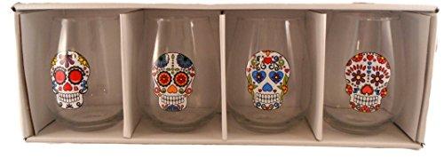 Wanderlust Stemless Sugar Skull Wine Glasses -