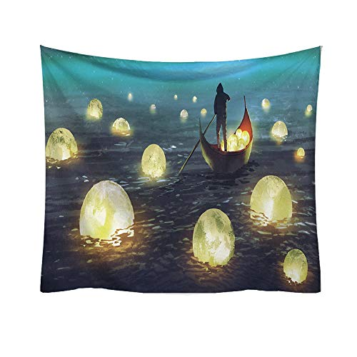 Hot Sale!DEESEE(TM)Jellyfish Print Tapestry Planet Fantasy World Style Decorative Tapestry Home Decor (A)
