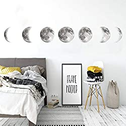 AGUIguo Creative Color Moon Phase Map Space Moon Wall Sticker Home Decoration, Removable Mural Decal Art Home Decor Painting Supplies (B)