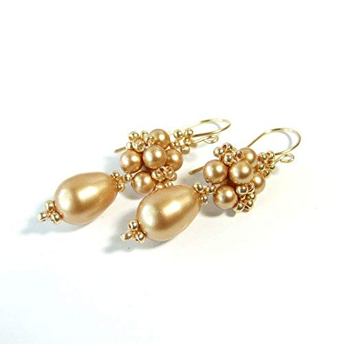Beaded Gold Pearl Dangle Drop Earrings with Handcrafted 14k Goldfilled Earwires - Handmade Boho Vintage Style Jewelry for Women - Edwardian Seed Pearl