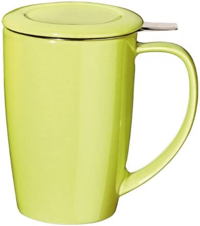 Forlife FTM-LIM Tall Tea Mug Curve with Infuser and Lid Ceramic Lime