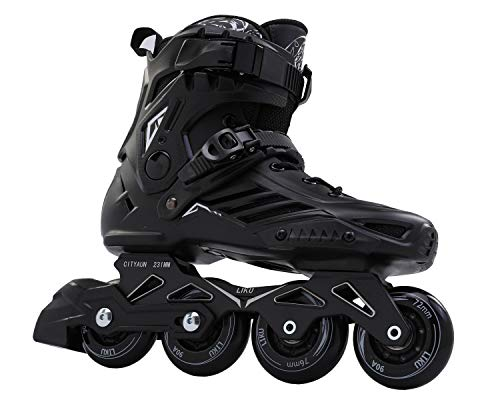 (LIKU Fitness Professional Inline Roller Skates Women Men Adult Youth Black (Men 10,Women 11))