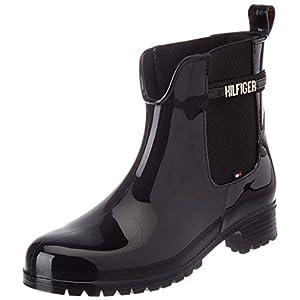 Tommy Hilfiger Black Branding Rainboot, Botte mi-mollet Femme