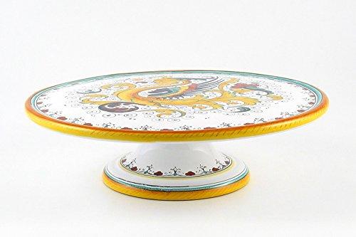 ハンドペイントイタリアセラミック12.5-inchケーキ&チーズスタンドRaffaellesco – ハンドメイドでデルータ   B005FH0M2Y