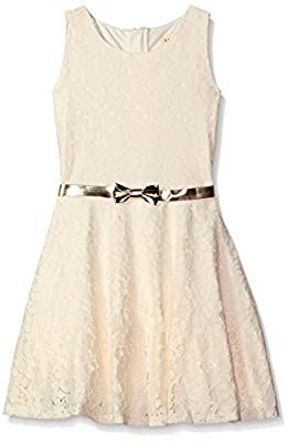 BTween Big Girls Allover Lace Skater Dress with Faux Bow Belt at Front