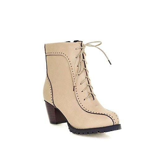 Allhqfashion Women's Kitten Heels Soft Material Solid Zipper Round Closed Toe Boots Beige