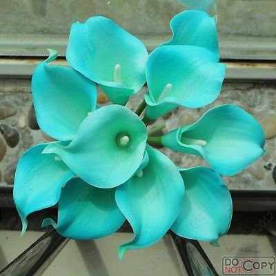 20Stem Calla Lily Flower Bouquet Real Touch Decorative Artificial Flower (Tiffany blue)