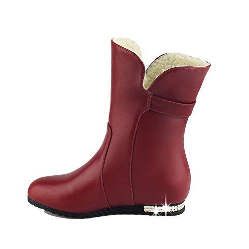 Red Toe Closed Women's Low Boots Round Soft Top Material Heels Pull On AgooLar Low g0OqTO