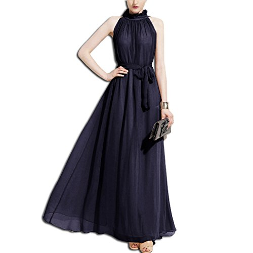 KAXIDY Elegante Vestidos Mujer Vestidos de Noche Vestidos de Cóctel Vestido Largo Azul Marino