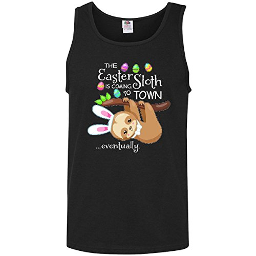 inktastic Easter Sloth With Bunny Ears- Men's Tank Top Medium Black 2f085