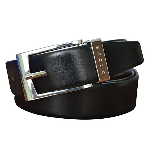 CROSS Men's Genuine Leather Belt Manresa Cut-to-Fit Style. 35 mm Pronged Buckle (Reversible) - Black/Brown (Large) (Black Seat Covers For Cars Nylon compare prices)