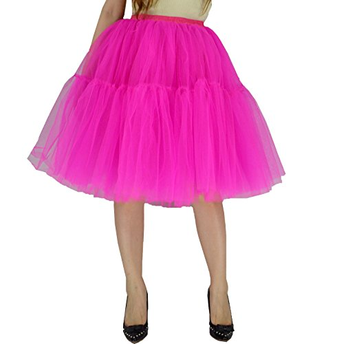YSJ Women's Layered Tutu Tulle Knee Length A Line Prom Party Skirts (L, T Rose)