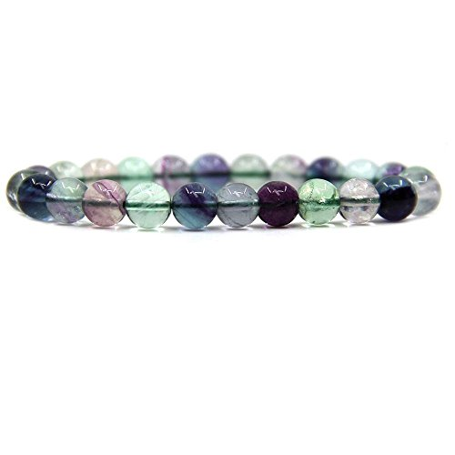 Fluorite Green Bracelet - Natural AA Clear Fluorite Gemstone 8mm Round Beads Stretch Bracelet 7