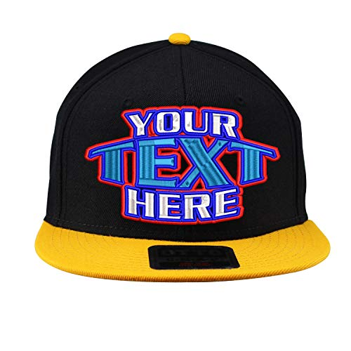 Custom Hat Embroidered Text Placed On Snapback Flat Bill Adjustable Black OSFM - Embroidered Cap T-shirt