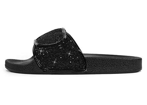 Glijssandalen Voor Dames, Ecladea Comfortabele Dames [waterdicht] Slip-on Glijslip Sandalen [platte Sloffen] Verstelbare Instapriem Met Haak-en-lussluiting [70057], Zwarte Glitter Maat 7 [us Size]