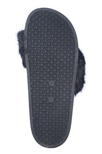 Roxoni Women's Summer Faux Fur and Metallic Open Toe Slide Sandal Slippers by Roxoni (Image #3)
