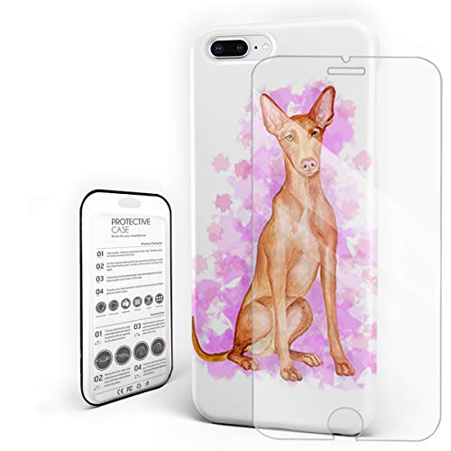 Compatible with iPhone 7 Plus Case and iPhone 8 Plus Case, Hard PC Back Phone Case with Tempered Glass Screen Protector Cute Pharaoh Hound Shockproof Protective Cover