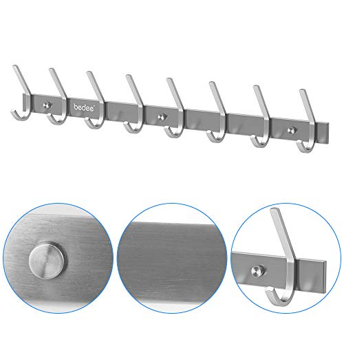 Coat Hooks, Coat Hooks For Wall, Door Hooks, Wall Mount Hook Heavy Duty Hanger Towel Rack, Stainless Steel Door Hanger With 8 Dual Door Hanger Hooks For Coats, Hats, Scarves, Robe, Clothes, Bag, Key