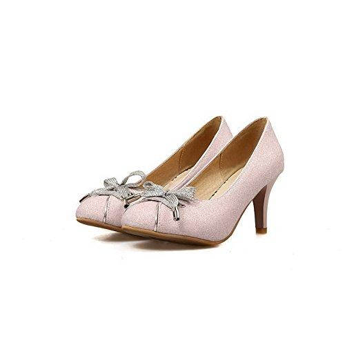 Balamasa Dames Spikes Stilettos Strikken Laag Uitgesneden Bovendeel Urethaan Pumps-schoenen Roze
