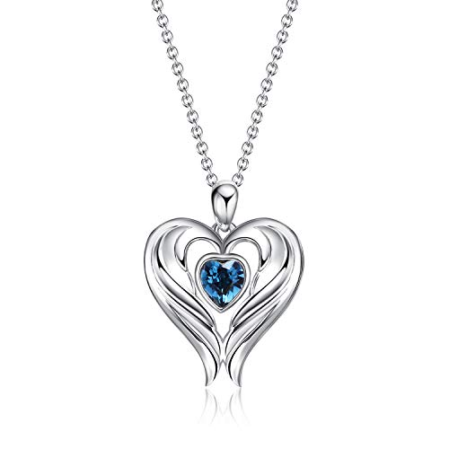 (WINNICACA Heart Wings Necklace Sterling Silver Angel Wings Pendant Necklaces for Women Girls Gifts,Blue Crystal from Swarovski)