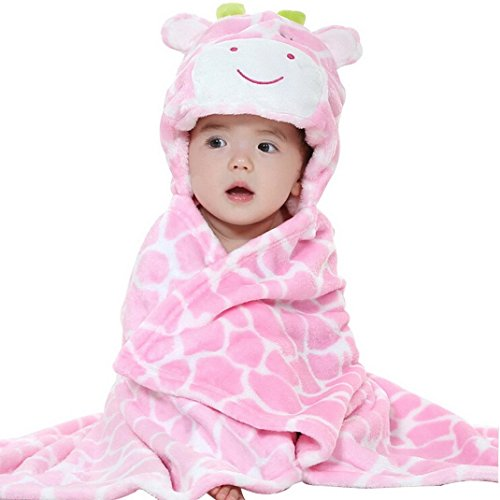 VLUNT Unisex-baby Giraffe Shower Cloak Soft Cozy Hooded Blanket Bath Towel