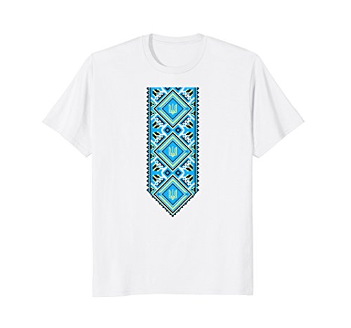 Mens Ukrainian Embroidered Print Vyshyvanka T-Shirt of Ukraine Medium White