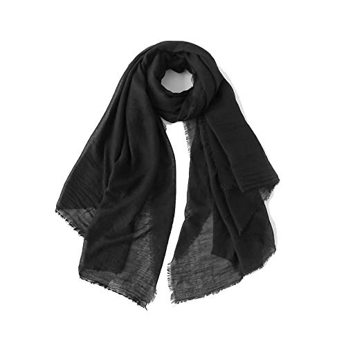 Cotton Feel Scarf Shawl Wrap Soft Lightweight Scarves And Wraps For Men And Women. (Black 2) ()