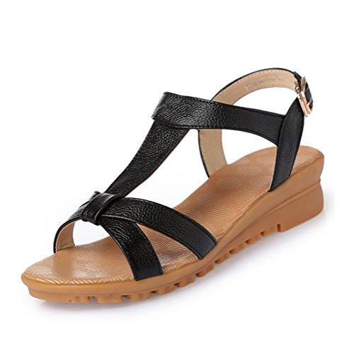 Always Pretty Womens Summer Sandals Wedge Heel Sandal Gladiator Summer Shoes For Women Black lOqLVYZl4N