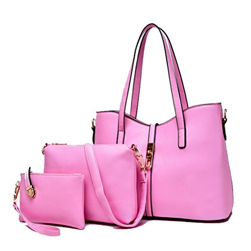 Meet Color Stylish Women Handbag Shoulder Bags Tote Purse Leather Messenger Bag Set Pink