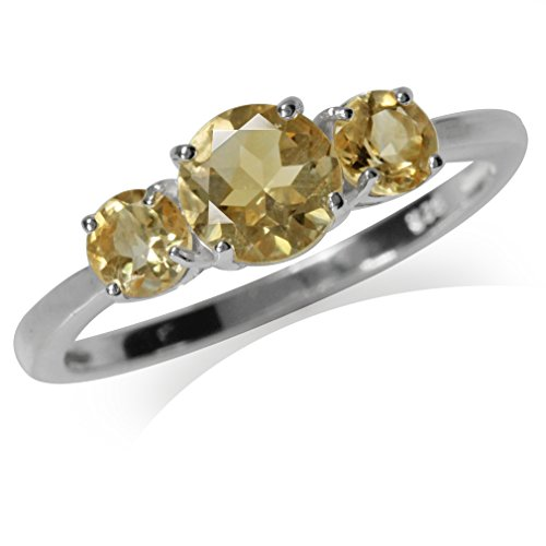 Cut Citrine Ring 3 Stone (1.19ct. 3-Stone Natural Citrine 925 Sterling Silver Ring Size 12)