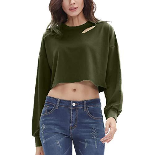 83a7b85bfab81 HYIRI Fashion Women Cut Out Long Sleeves Sweatshirts Jumper Pullover Tops  Blouse