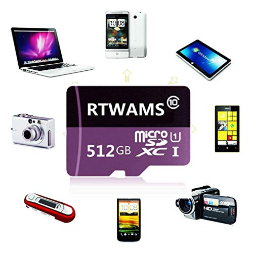 256GB/512GB/1024GB Micro SD Card High Speed Class 10 Memory Card SDXC Card with Free Adapter (512GB)