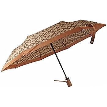 Coach Signature Umbrella Retractable Signature Khaki Saddle