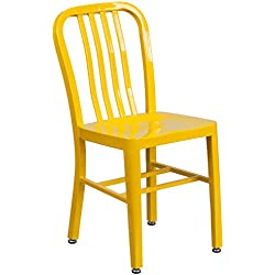 Flash Furniture Yellow Metal Indoor-Outdoor Chair