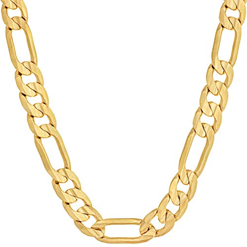 Lifetime Jewelry 7mm Figaro Chain Necklace 24k Gold Plated for Men Women & Teen