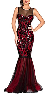 Blansdi Women Vintage Sequin Mesh Splice Bodycon Mermaid Maxi Evening Dress Gown