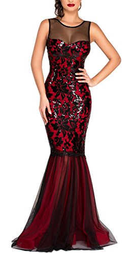 Blansdi Evening Red Mermaid Splice Vintage Gown Women Maxi Mesh Sequin Bodycon Dress rpr7q