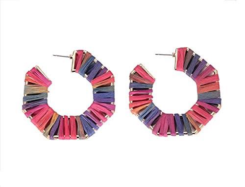 (Geometric octagonal earrings hand-woven statement earrings for women -color 1)